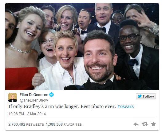 Ellen DeGeneres Breaks Twitter