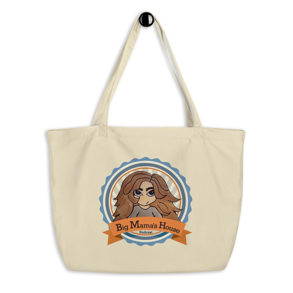Large organic tote bag – Big Mama's House Podcast Logo